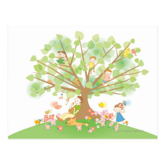 Family and Tree Postcard