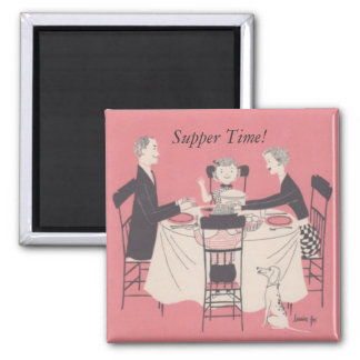 family at the table, Supper Time! 2 Inch Square Magnet