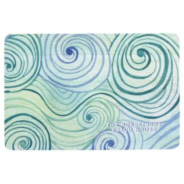 Beach Themed Family Beach House Modern Watercolor Wave Swirls Floor Mat
