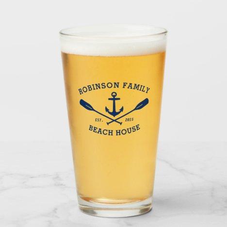 Family Beach House Nautical Anchor Oars Navy Glass