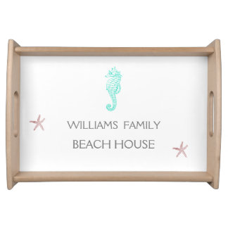 FAMILY  BEACH HOUSE SEAHORSE AND STARFISH SERVING TRAY