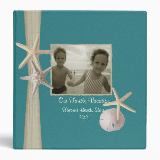 Family Beach Vacation with Starfish and Photos 3 Ring Binder