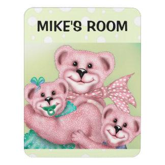 FAMILY BEAR LOVE CARTOON  Crest Large Room Sign 6