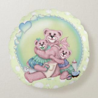 FAMILY BEAR LOVE Grade A Cotton Round Pillow