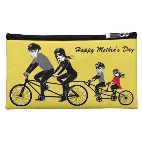 Family Biking Happy Mother's Day Cosmetic Bag