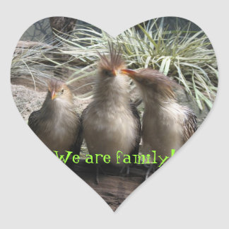 Family Bird Time Heart Sticker