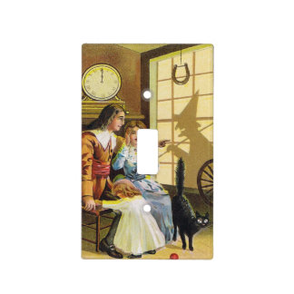 Family Black Cat Witch Shadow Horseshoe Light Switch Cover