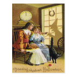 Family Black Cat Witch Shadow Horseshoe Postcard