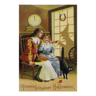 Family Black Cat Witch Shadow Horseshoe Poster