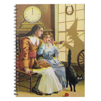 Family Black Cat Witch Shadow Horseshoe Spiral Notebook