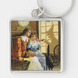 Family Black Cat Witch Shadow Silver-Colored Square Keychain