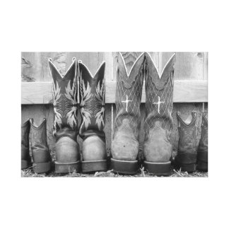 family boots canvas print