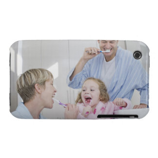 Family brushing teeth together iPhone 3 Case-Mate case