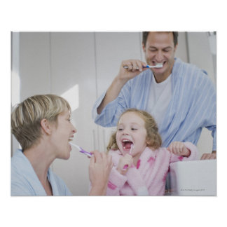 Family brushing teeth together poster