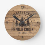 Family Cabin Rustic Wood Personalized Round Clock