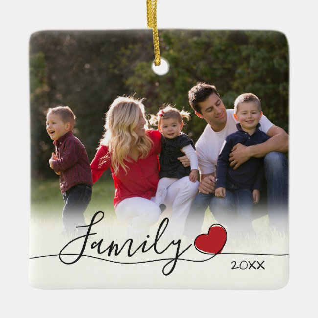 Family Calligraphy Red Heart | Photo Christmas