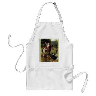 family children collie dog horse boy girl adult apron