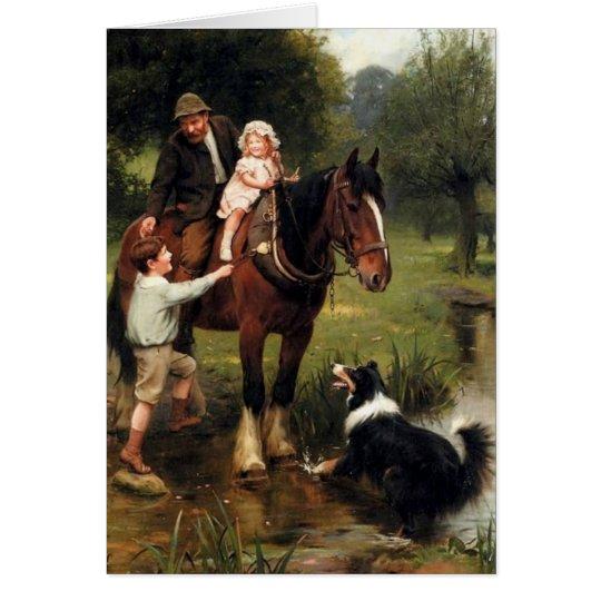 family children collie dog horse boy girl card