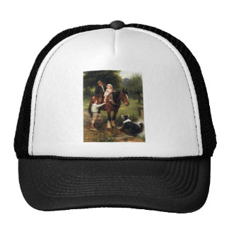 family children collie dog horse boy girl hat