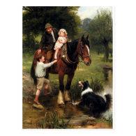 family children collie dog horse boy girl post cards