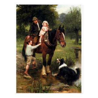 family children collie dog horse boy girl postcard
