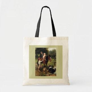 family children collie dog horse boy girl tote bag