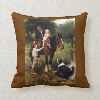 Family Children Collie Dog Horse pillow