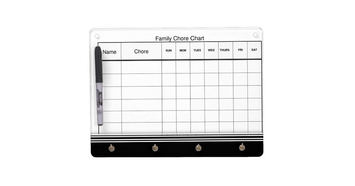 family chore chart dry erase board with keychain holder