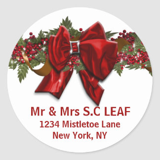 Family Christmas address seals PERSONALIZE Classic Round Sticker