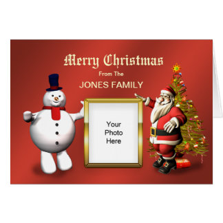 Family Christmas card with Santa and a snowman
