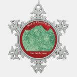 Family Christmas Custom Pewter Snowflake Ornament