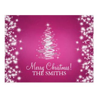 Family Christmas Elegant Tree Custom Pink Postcard