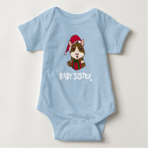 Family Christmas Guinea Pig Baby Sis Personalized Baby Bodysuit