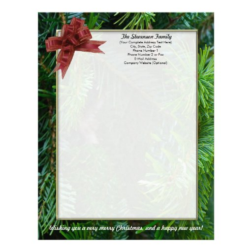 Family Christmas Letter Personalized Letterhead