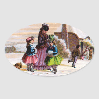 Family Christmas Oval Sticker