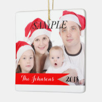 Family Christmas Photo Custom Holiday Ceramic Ornament