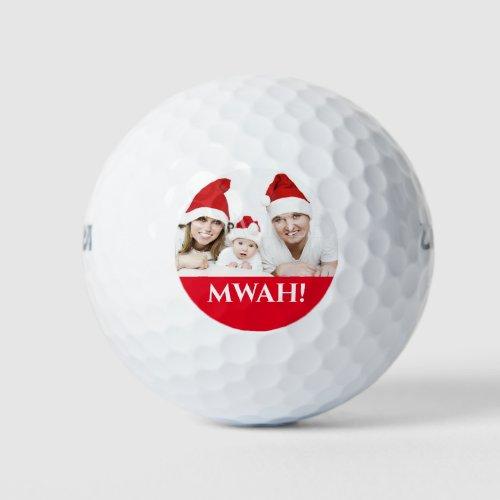 Family christmas photo mwah holiday greeting golf balls