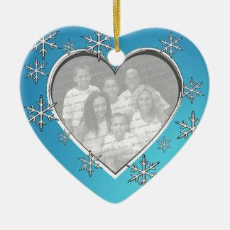 Family Christmas Photo Double-Sided Heart Ceramic Christmas Ornament