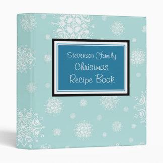 Family Christmas Recipe Binder Blue Snow