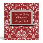 Family Christmas Recipe Binder Red Damask