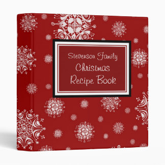 Family Christmas Recipe Binder Red White Snow
