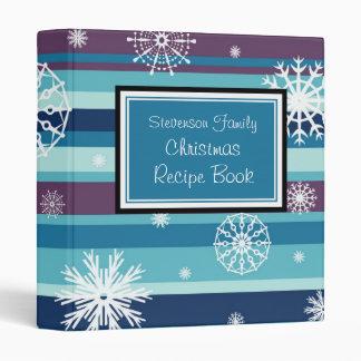 Family Christmas Recipe Binder Stripes & Snow