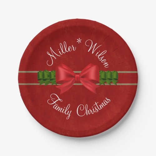 Family Christmas Red and Green Bows Paper Plate