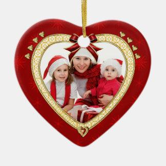 Family Christmas Red Heart Custom Photo Ornament