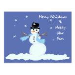 Family Christmas Snowman Postcard