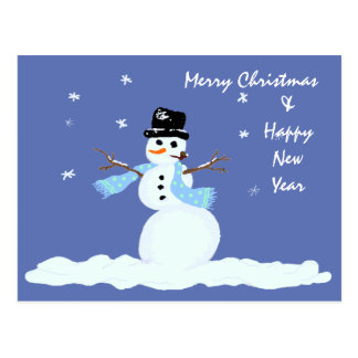 Family Christmas Snowman Postcard