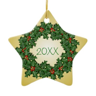 Christmas Themed Family Christmas Star and Wreath Dated Ornament