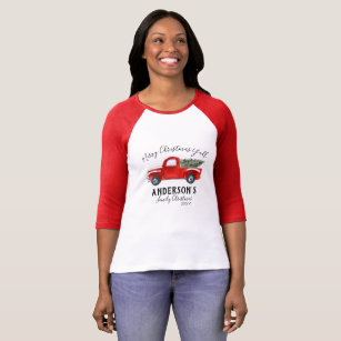 family christmas t shirt vintage red truck