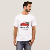 Family Christmas T Shirt - Vintage Red Truck