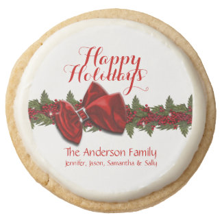 Family Christmas tree garland Round Shortbread Cookie